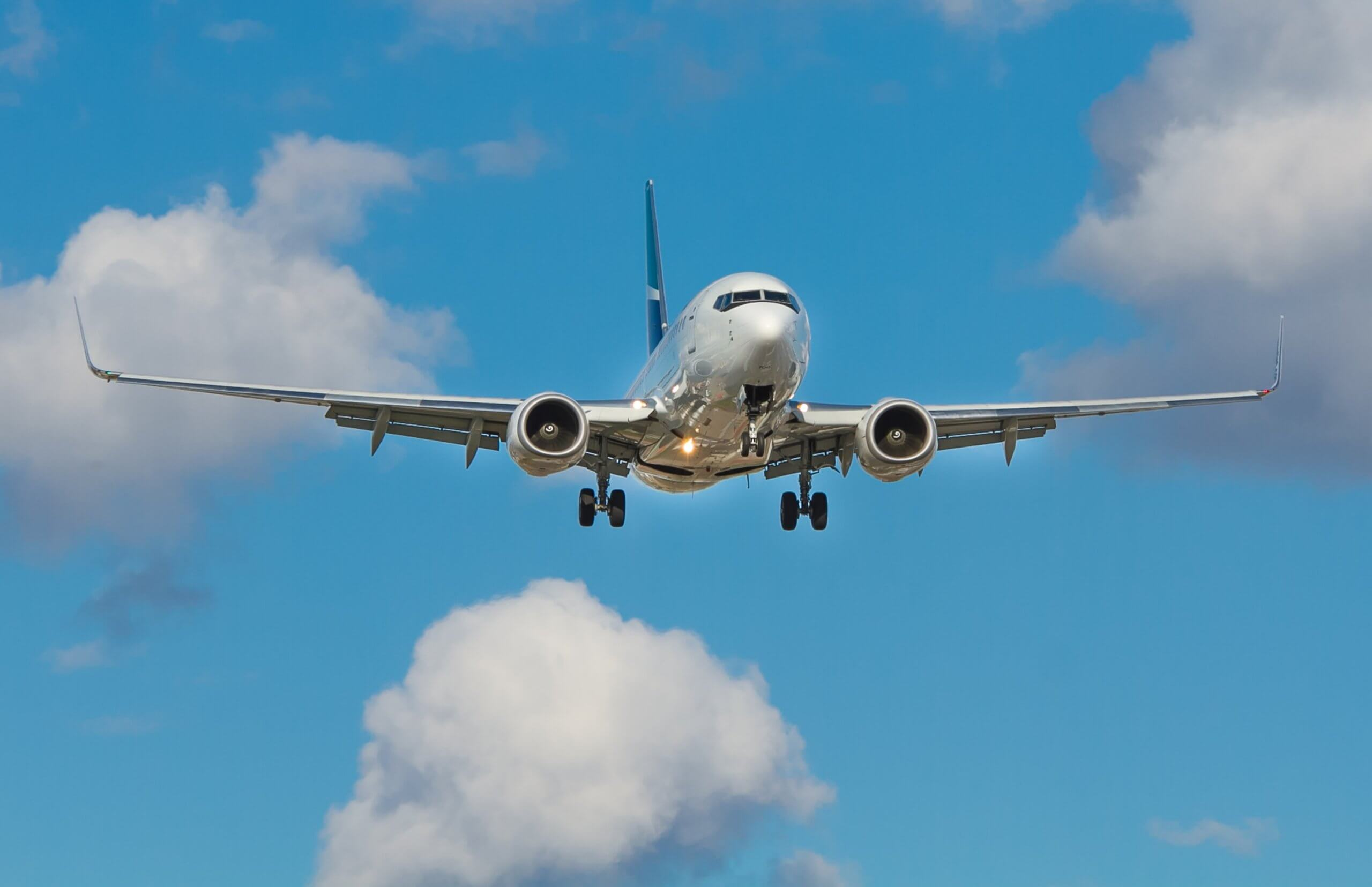 Airplane decending in the sky