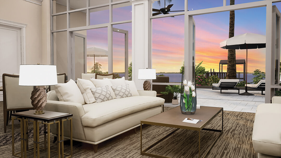 Social Room Luxury Amenities Sunset View